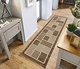 Alfombra larga, moderna, tradicional, peluda para pasillo, alfombra camino de pasillo en múltiples colores, polipropileno, 4304 Beige, 60 x 230 cm (2' x 7'7')