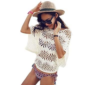 Uncinetto, da donna, Vintage, colore: crema a maglia larga, donna, mare, estate, Taglia: 23-30