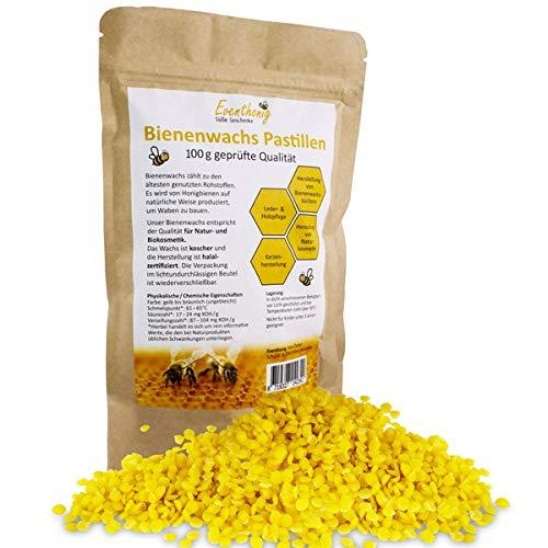 100{d4096c633fb56c90724ceffa8c8eab17930681ff0d3dac7cf2a11e6bfa2c040d}natürliche schnell schmelzende Bienenwachs Pastillen vom Imker für die Herstellung Salben Seifen Kerzen 100g 200g im lichtundurchlässigen wiederverschließbaren Beutel für lange Haltbarkeit