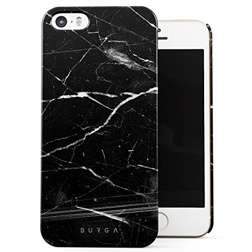 Cover iPhone 5 / 5s / SE Nero Marmo, BURGA Black Marble Design Sottile, Guscio Resistente In Plastica Dura, Custodia Protettiva Per iPhone 5 / 5s / SE Case Origin Black