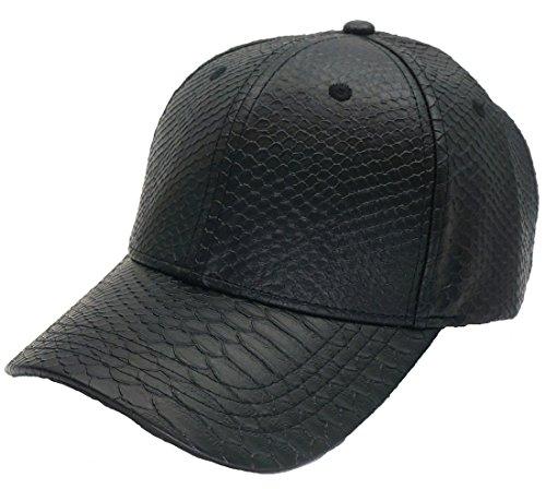 Roffatide PU Leder Baseballmütze Basecap Kunstleder Kappe Schirmmütze Hut Klettverschluss (Polo Textured Performance Stripe)