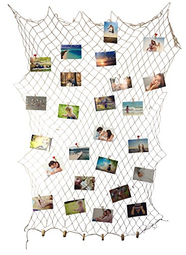 endlosschenken Fischernetz Deko maritim Fotonetz - 30 Klammern 10 Herzklammern DIY Netz Wanddekoration Bilderrahmen Bildergalerie Natur (2m x 1m)
