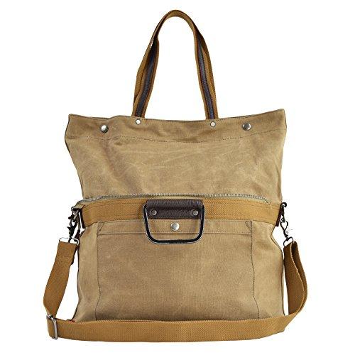 CTM Das Segeltuch -Handtasche mit Schultergurt und Metallgriffe 36x23x18 cm Schlamm