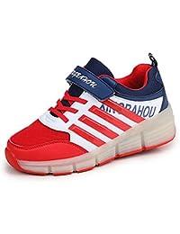 Meurry Super Light Niño Chica Niños Roller Zapatos Patines LED Luminoso Rueda Trainers Monopatín Sneaker Único Ronda Zapatos Deportivos Al Aire Libre (28 EU, rojo)