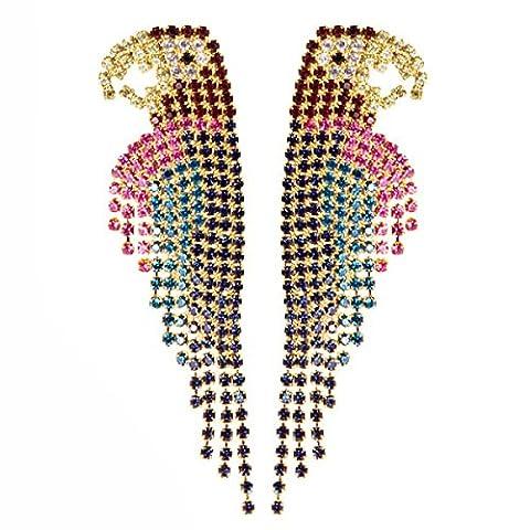 ZPXLGW Mode Perroquet Plein De Diamants Exagérée Boucles D'oreilles Pompon Section