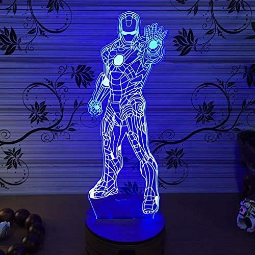 ARXYD 3D Led Lampe D'Illusion Optique Iron Man Lights Batman Lights Miracle Lampe De Nuit Avec Câble 7 Couleurs Décoration Pour Enfant Chambre Chevet Table De Bébé Enfant Cadeau De Noël Fête