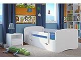 Kocot Kids Kinderbett Jugendbett 70x140 80x160 80x180 Weiß mit Rausfallschutz Matratze Schublade und Lattenrost Kinderbetten für Mädchen und Junge - ohne Motiv 180 cm