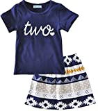 Summer Kids Girls Short Sleeve T-shirt+Geometric Pattern Skirt Clothing Sets