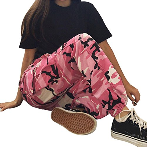 Hosen, Frashing Frauen Sport Camo Cargo Hosen Outdoor Casual Camouflage Hosen Jeans Camouflage bedruckte Jeans Haremshose (L, Rosa) (Hosen Denim Spandex)