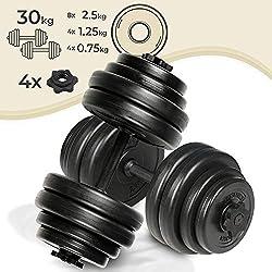Physionics Kurzhanteln 2er Set - 30kg (2x15) oder 40kg (2x20), 2 Stahl oder Eisen Hantelstangen, Kunststoff Hantelscheiben + 4 Sternverschlüsse - Gewichte, Hantel-Set