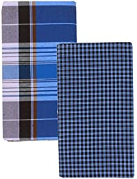 Arun Tex Multi Color Cotton Checks Lungi for Men's, Combo of 2, Size-2.25meters (Lungis)