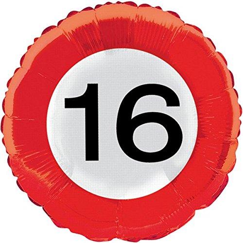 Folat 45cm Traffic Schild Geburtstag Party Folienballon-16. Geburtstag