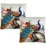 Dream Weaverz Beautiful Peacock Printed Cushion Covers (set Of 2) With High-Quality Velvet Fabric - (16*16 Inch) Multicolored