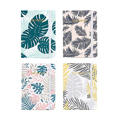 ZLJHH 4Pcs Retro Pastel Leaved Leaf Libro In Bianco Notebook Planner Travelers Journal Diary Mensile Planner,A7