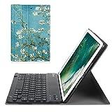 Fintie Bluetooth Tastatur Hülle für iPad 9.7 Zoll 2018 2017 / iPad Air 2 / iPad Air - Ultradünn leicht Ständer Keyboard Case mit magnetisch Abnehmbarer Drahtloser Deutscher Tastatur, Mandelblüten