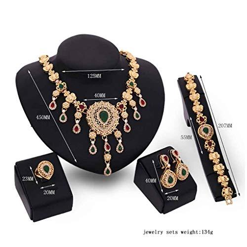 Bomcomi Bunte Wassertropfen-Form-Edelstein-Shinning Kristallblumen-Ketten-Halsketten-Armband-Ring Set