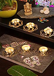 Bavla Diwali Decoration 6 Pc. Candle Tea Light Holder Diya with Puja Accessories