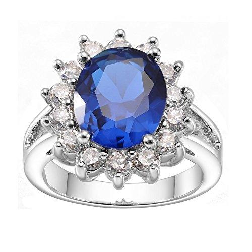 Anelli di fidanzamento KIVN Fashion Jewelry: Blu zaffiro e zirconia cubica, per donna, con occhielli, motivo Principessa Diana, colore: zaffiro e Ottone placcato al rodio, 19,5, colore: blu, cod. KIVN Jewelry