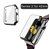 Watch Series 2 Case 42mm, 2win2buy Full Cover Apple Watch Series 2/Nike Case Slim Hard PC Plated Protective Bumper Cover with 0.2mm Shockproof Sheld Guard Screen Protector for iWatch 2016, Black