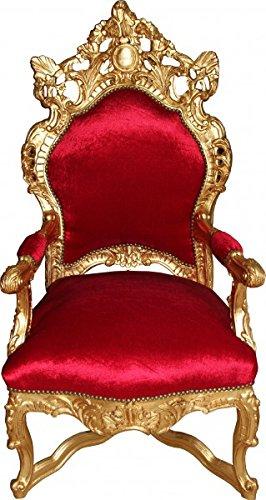 Casa Padrino Barock Thron Sessel Bordeaux Rot / Gold - Unikat - Barock Möbel...