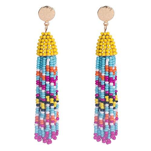 Pnizun Verkauf Bunte Samen-Korn-Troddel-Ohrringe f¨¹r Frauen Handgemachtes Lange Ohrringe Bohemian Fashion Statement Ohrringe