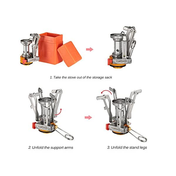 TOMSHOO Camping Stove/Backpacking Stove and windshield Backpacking Stove for Outdoor Hiking Picnic BBQ 8