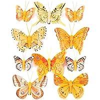 Heitmann Deco - Schmetterlinge mit Clip zur Befestigung - 10-teiliges Deko-Set in orange verziert - verschiedene Größen