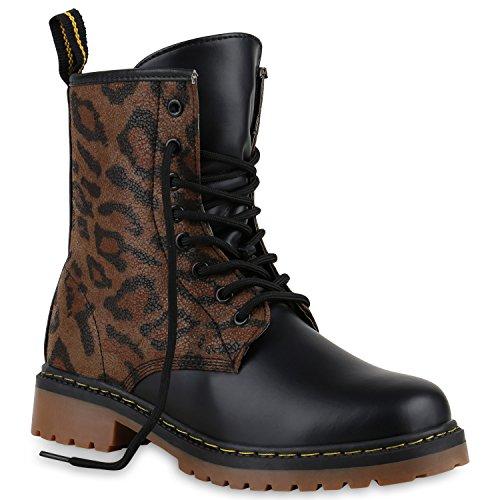 Derbe Damen Stiefeletten Worker Boots Profilsohle| Camouflage Stiefel Schnür Animal Print Schuhe 128692 Leopard Braun 38 | Flandell (Leopard Stiefel Print)