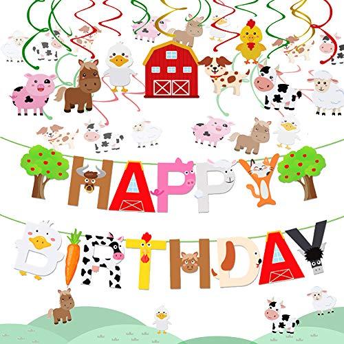 JeVenis Set of 2 Farm Animals Birthday Banner Farm Animals Party Favor Farm Animals Party Supplies for Animal Birthday Kids Birthday