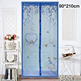 Su-luoyu Moskitonetz Tür Insektenschutz Magnet Vorhang Fliegenvorhang für Balkontür Wohnzimmer, Schwarz 90*210cm/100*210cm (C:90*210CM, Blau)