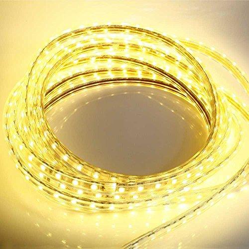 10 Meter 230V LED Streifen warm-weiß 10m Band Leiste kürzbar 3200K IP44 Stripe dimmbar Licht gelblich Lampe strip Beleuchtung für aussen / Aussenbereich Carport Terrassen Haus Unterschlag Gibel wasserdicht flexibel 220V 230Volt AC mit Netzteil kostenlos Indirekt Wohnzimmer Leuchte