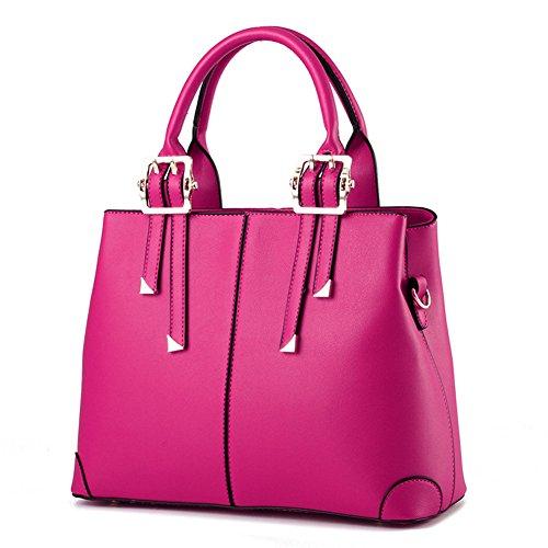 fanhappygo Frauen PU Leder Henkeltaschen Schultertaschen Tasche Handtasche Umhängetasche Reißverschluss Messenger bag rosarot