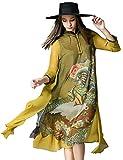 ZooBoo Chinesisches Damen Kleid Kostüm - Traditionell Cheongsam A-Linie-Kleid Orientalische Muster Farbdruck Hochzeit Party Abend Freizeitkleidung Outfit Stehkragen für Frauen Mädchen (S, Farbig)