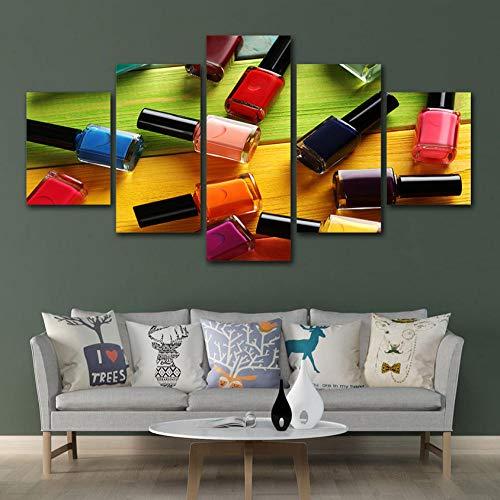 Aisufen Wandkunst Poster Modulare Leinwand HD Drucke Gemälde 5 Stücke Bilder Nagelöl Schönheitssalon Wohnkultur Für Wohnzimmer Rahmen-10CMx15/20/25CM