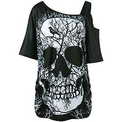 ❤️ Camiseta de Mujer Camiseta de Calavera,Camiseta de Manga Corta Cuello Inclinado Camiseta de Blusa Hombro Blusa Absolute