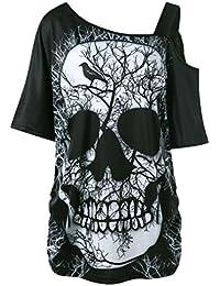 Camiseta de Mujer Camiseta de Calavera,Camiseta de Manga Corta Cuello Inclinado Camiseta