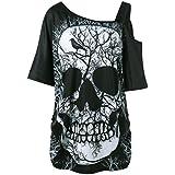 ... oferta) · ❤ Camiseta de Mujer Camiseta de Calavera,Camiseta de Manga Corta Cuello Inclinado Camiseta