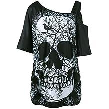 ... con ... ❤ Camiseta de Mujer Camiseta de Calavera,Camiseta de Manga Corta Cuello Inclinado Camiseta
