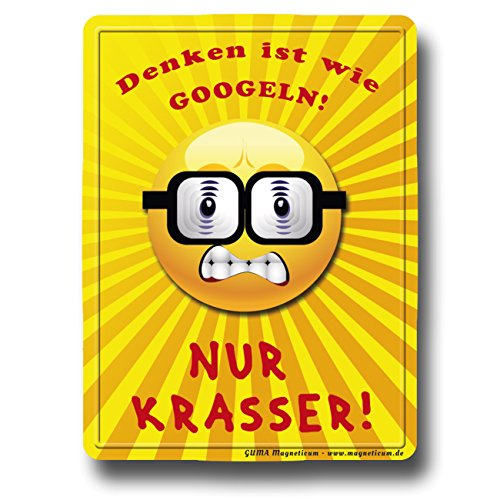 GUMA Magneticum 6107 Kühlschrankmagnet Sprüche Smiley Nerd Denken Humor lustig