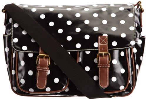 Swanky Swans Ashley Polka Dot, Damen Messengerbag, Schwarz - schwarz - Größe: Large