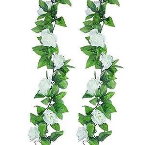 Meiliy – dos guirnaldas de flores (rosas) artificiales de 4,5m, para Casa, oficina, hotel, boda, fiesta, jardín decoración, arte, manualidades