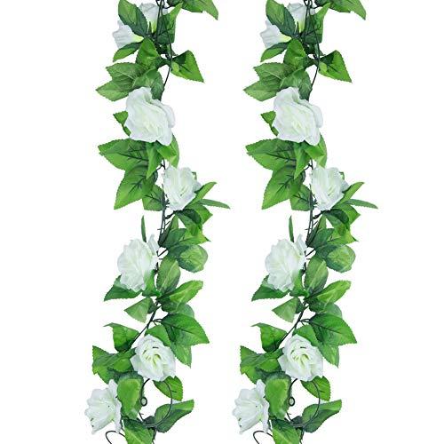 Meiliy 2er-Pack 4,50 m Künstliche Rosen-Kletterpflanze Blumen Pflanzen Künstliche Blumen Dekoration für Zuhause, Büro, Hochzeit, Party, Gartendeko weiß
