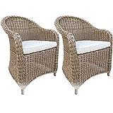 dasmöbelwerk 2er Set Polyrattan Stuhl mit Sitzpolstern Rattan Stuhl Relax Sessel Gartenmöbel Gartenstuhl Panama Cappuccino