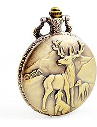 boshiya ciervo reno cuarzo reloj de bolsillo Bronce Hunter Caso para  hombres mujeres niños 7348b2565108