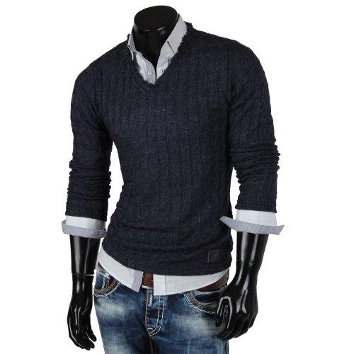 Emimay pull en tricot avec col en v pour homme pull swaetshirt veste nouvelle étiquette Bleu - Bleu foncé