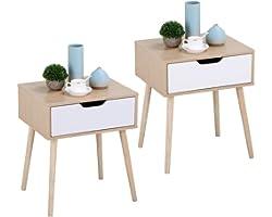 Yaheetech Table de Chevet Design Lot de 2 Tables de Nuit avec Tiroir Scandinave Table Carrée à Café pour Salon Couloir Chambr
