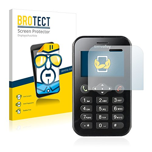 BROTECT Schutzfolie kompatibel mit Simvalley Mobile RX-482 Pico [2er Pack] klare Bildschirmschutz-Folie