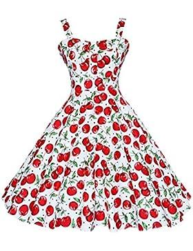 Botomi Women 's vintage años 50 Hepburn Classique cereza vestido patrón swing Brace, 01.S Red, Large