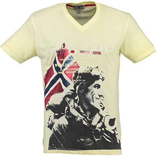 Geographical Norway Herren V-T-Shirt JURTZ Herrenshirt kurzarm Shirt L-Yellow