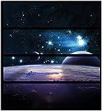 Wallario Möbelfolie/Aufkleber, geeignet für IKEA Malm Kommode - Planeten im Weltall mit 4 Schubfächern